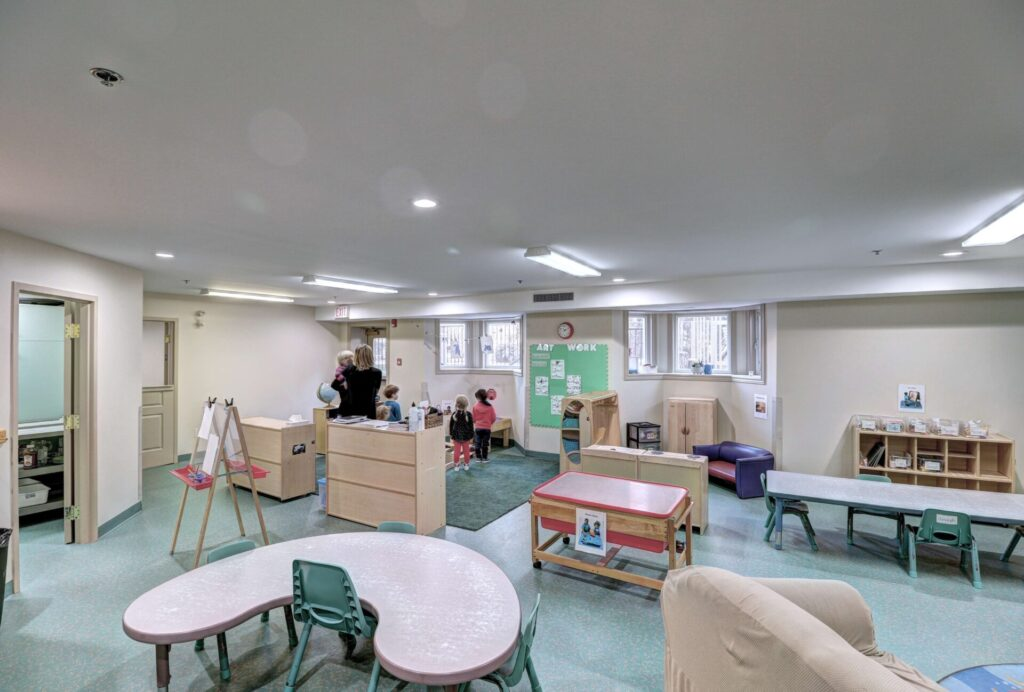 A recreational area for children with toys and space for group activities